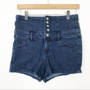 VINTAGE 90s Cache High Waist Button Fly Shorts 4